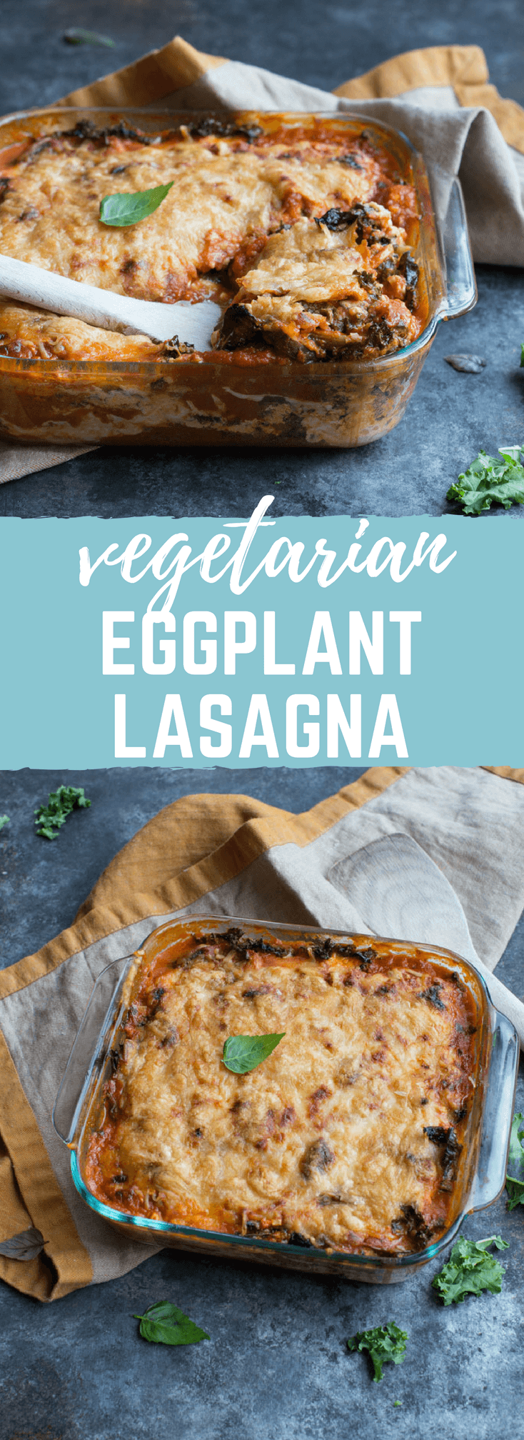Vegetarian Roasted Eggplant Lasagna | high protein vegetarian dinner