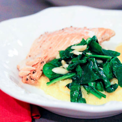 Creamy Brie Polenta and Spinach