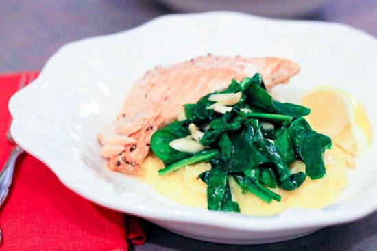 Creamy Brie Polenta and Spinach | love & zest