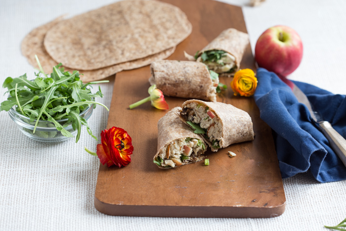 high protein lunch wrap with rotisserie chicken, Greek yogurt, dried plums, and apples