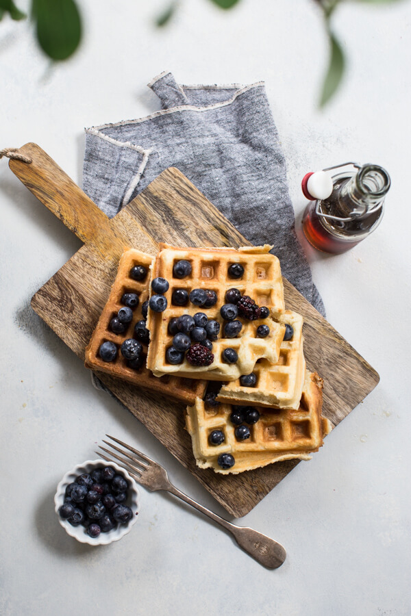 Gluten free waffles recipe with blueberries
