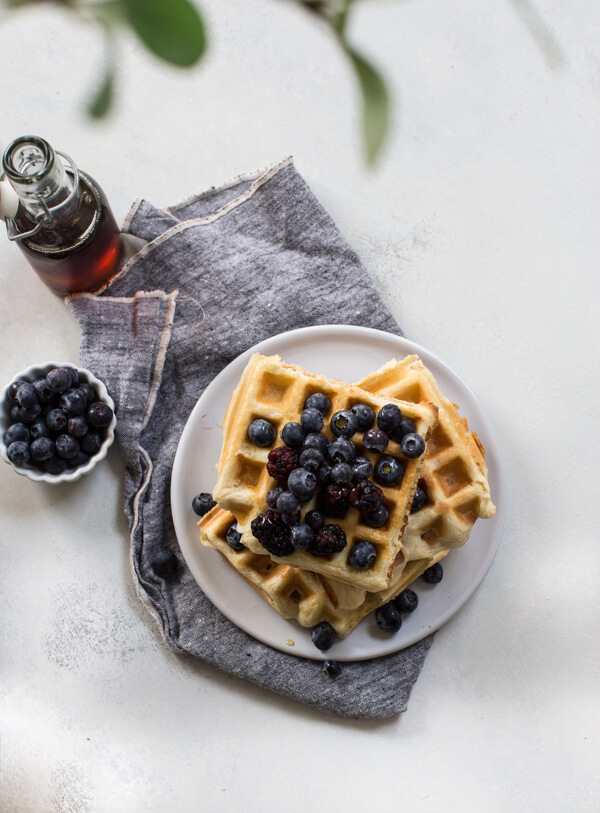 gluten free buttermilk waffles with blueberries