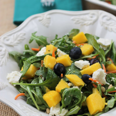 Mango Arugula Salad with Creamy Rosemary Dressing