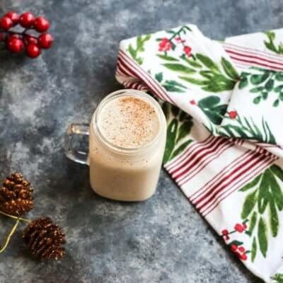Bring the coffee shop to your house with this eggnog frappuccino that's easy to make at home-- all you need is eggnog, banana, coffee, (protein powder-- if you wish) and a blender!