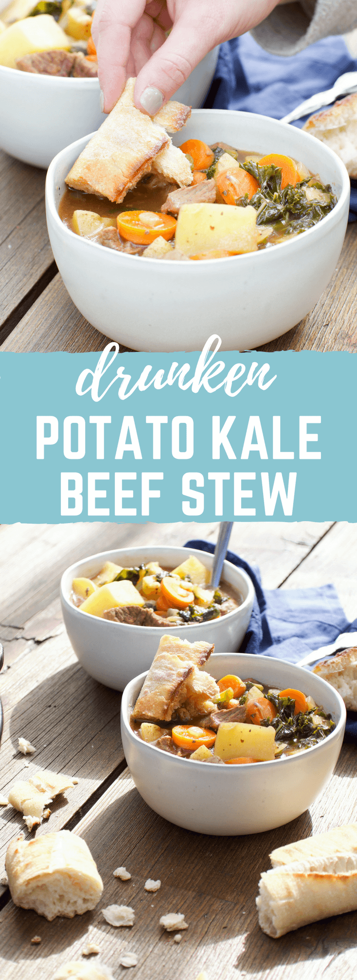 But my favorite part about grilling this Drunken Potato Kale Beef Stew?  Tossing a baguette on the grill to get it warm and crispy-- perfect for dipping into beer broth..