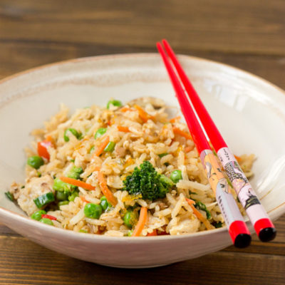 Chicken Fried Rice with Sweet Chili Sauce