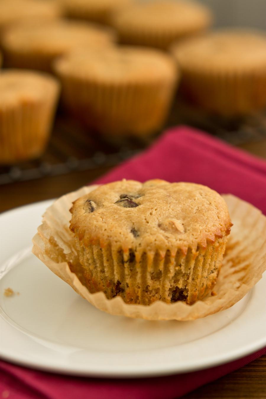 Dark Chocolate Cherry Walnut Muffins | love & zest