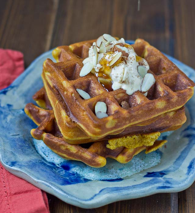These Pumpkin Blender Waffles with Pumpkin Cream boast of fall flavors and are made in the BLENDER!! They are decadent, fluffy, and pumpkiny. Don't make them without the Pumpkin Spice Cream… it's melt in your mouth yum yum.