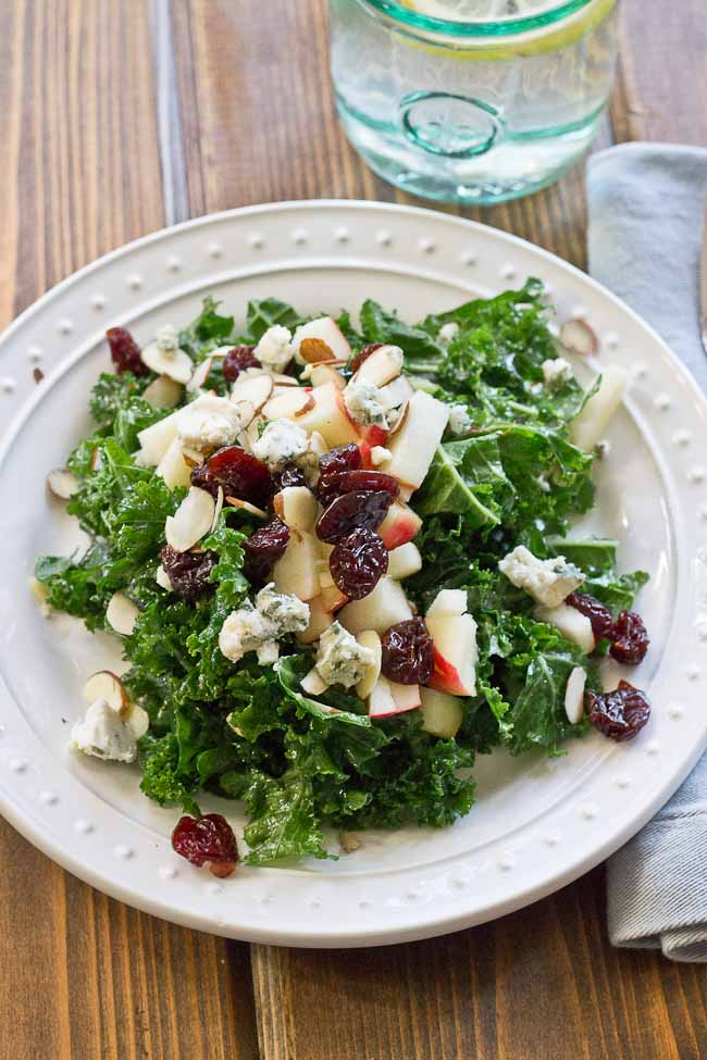 Refreshing Apple & Kale Power Salad topped with tart cherries, almonds ...