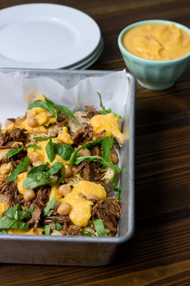 Slow Cooker Steak Nachos with Butternut Squash Queso-7572