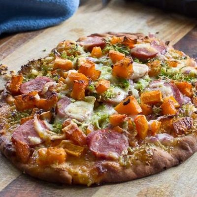 This sweet and savory pizza is loaded with the goodness of the fall season. Brussels sprouts and butternut squash make this naan pizza hearty and healthy!