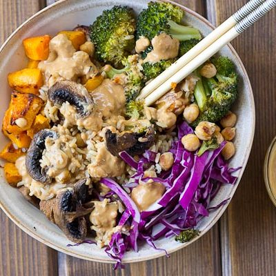 Abundance Bowls with Almond Butter-Lemon Dressing