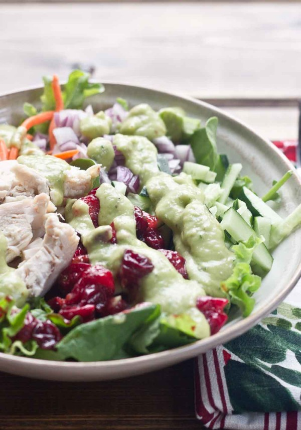 This protein packed Chicken Salad is topped with Avocado Ranch Dressing. This healthy ranch dressing is made with avocados and greek yogurt and has only 25 calories per serving and no added sugar.