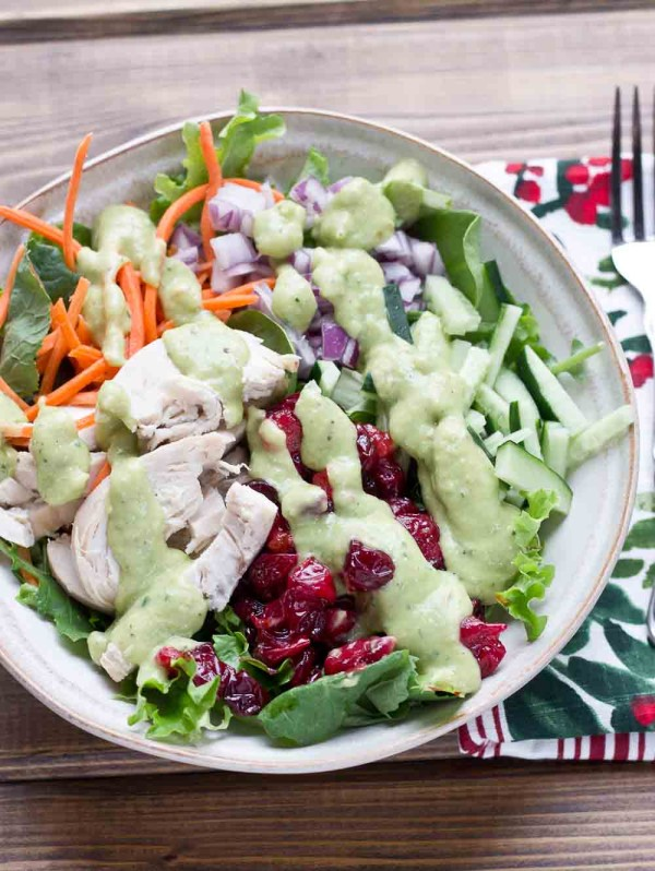 protein packed Chicken Salad is topped with Avocado Ranch Dressing ...