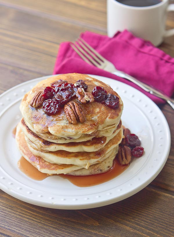 Tart Cherry Greek Yogurt Pancakes with Tart Cherry Maple Syrup