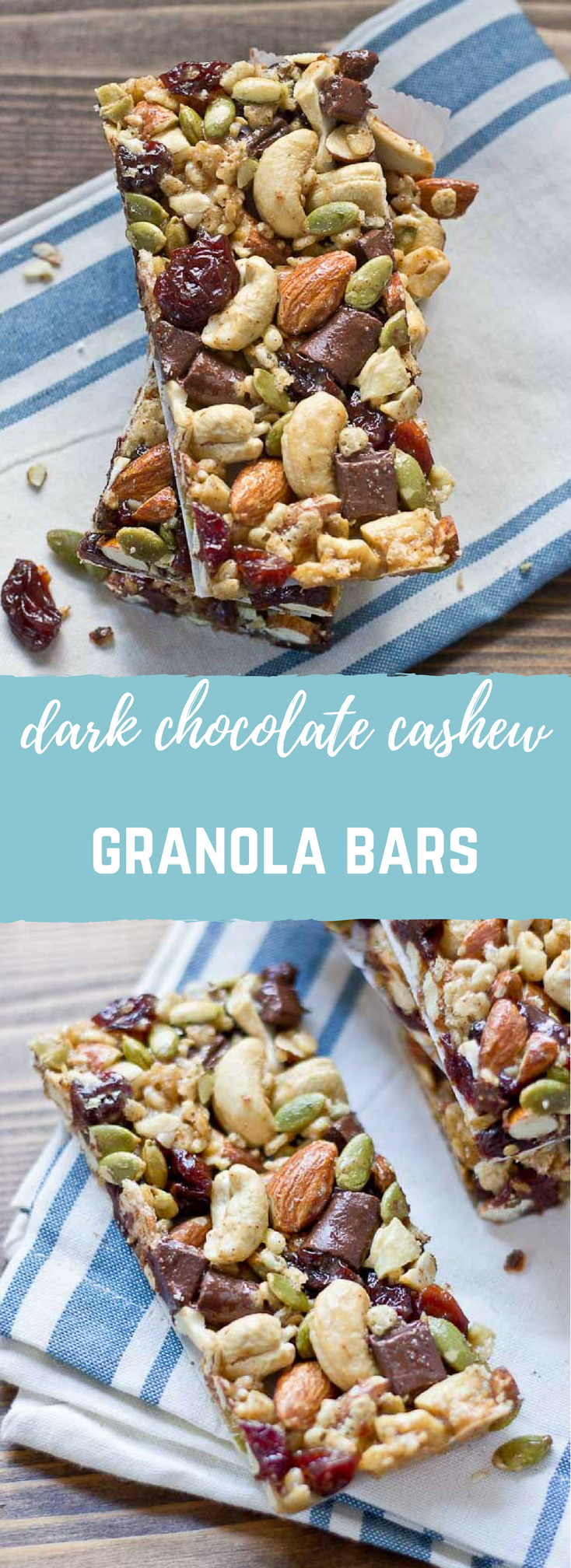 Tart Cherry, Dark Chocolate & Cashew Granola Bars | Gluten Free