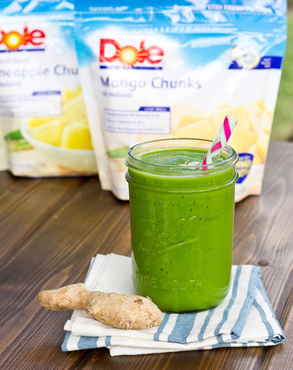 Slurp on a Ginger and Greens Smoothie made with fresh ginger, frozen fruit and 2 cups of greens!! It's super refreshing and cleansing!