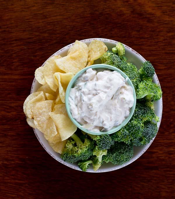 This Healthy French Onion Dip made with Greek yogurt and shredded zucchini makes a great party appetizer or snack. Your guests will never know it's healthy.