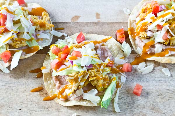 Slow Cooker BBQ Chicken Tostadas-- pulled chicken breast cooked with ...