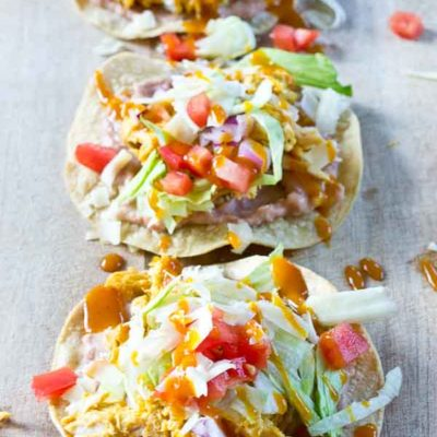 Slow Cooker BBQ Chicken Tostadas