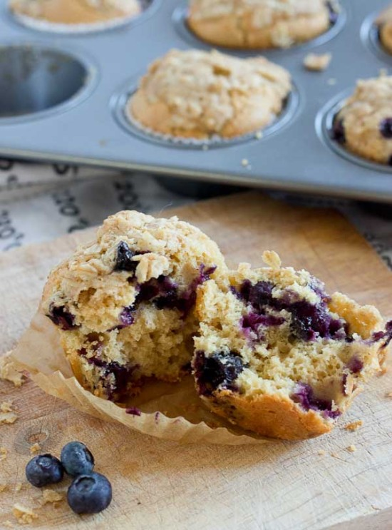 Blueberry Cheesecake Muffins with Oatmeal Streusel  love  zest