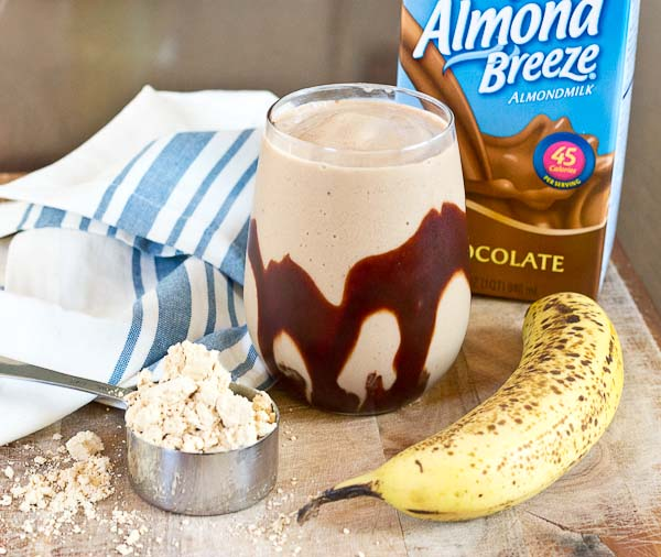 Chocolate Peanut Butter Protein Smoothie...a chocolate lovers dream. Sweet, creamy, high protein, no added sugar, and made with only 3 ingredients!