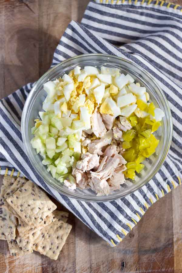 classic southern recipe with chicken, mayo, eggs, celery, and relish