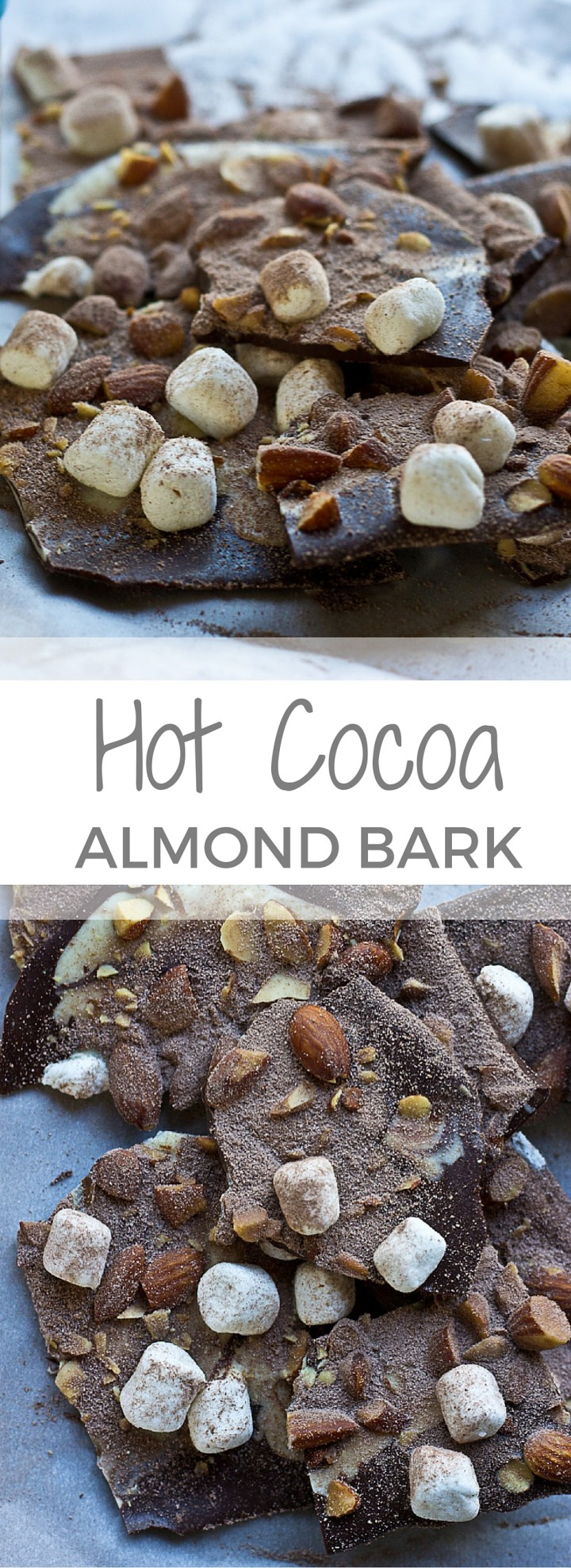 Hot Cocoa Almond Bark… dark chocolate with white chocolate swirl, marshmallows, almonds, and a dusting of hot cocoa…. a super easy recipe to throw together for a holiday party and it's oh so festive! @KrisitnaLaRueRD