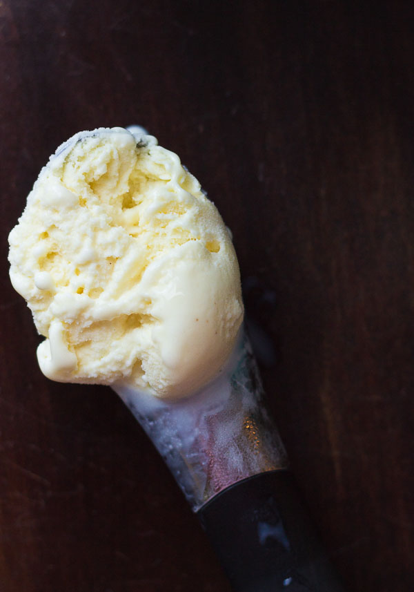 Eggnog Ice Cream made with 1 ingredient... eggnog. Pour eggnog into ice cream maker and churn. Super creamy and delicious and a great way to use leftover eggnog!