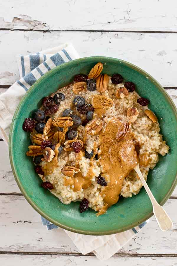Eat a bowl of this Ancient Grains Oatmeal for a healthy and delicious start to the day. This Ancient Grains blend is higher in fiber and protein than a traditional bowl of oatmeal.