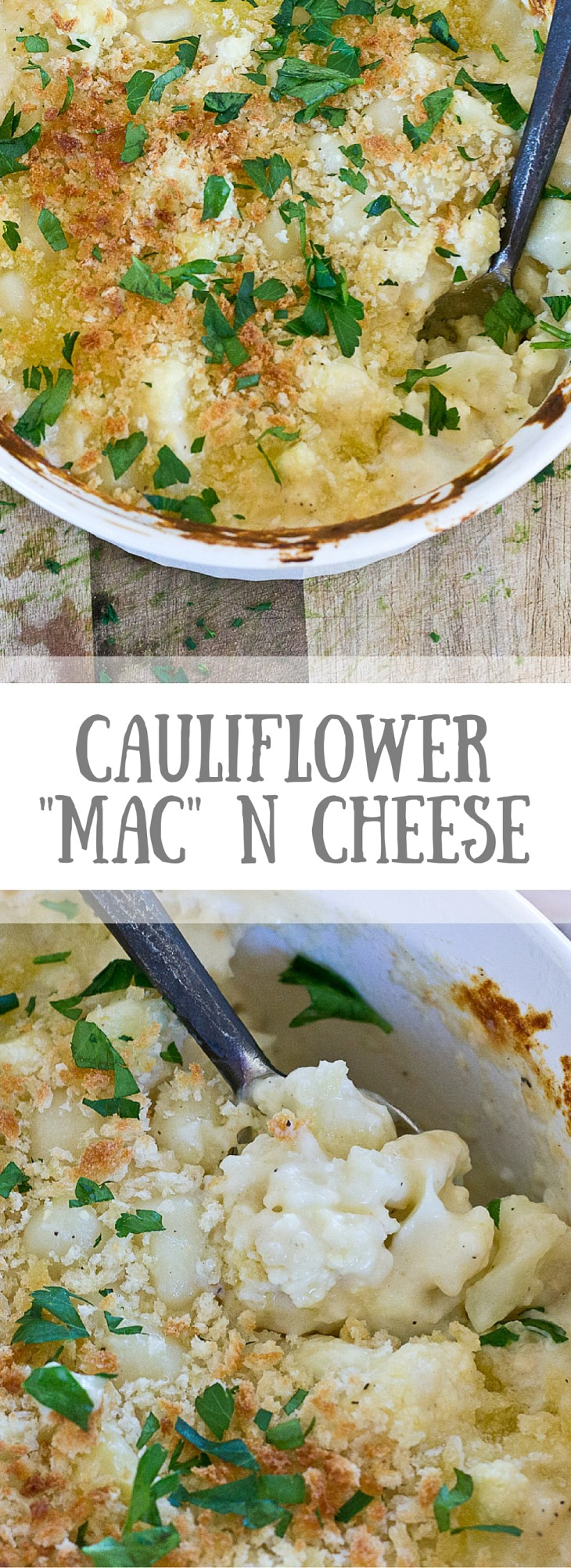 "This Cauliflower ""Mac"" n Cheese, made with gnocchi instead of macaroni is so creamy and so cheesy, it's hard to resist eating it all up! Have a bowl of this ""Mac n Cheese"" and eat your veggies too!"