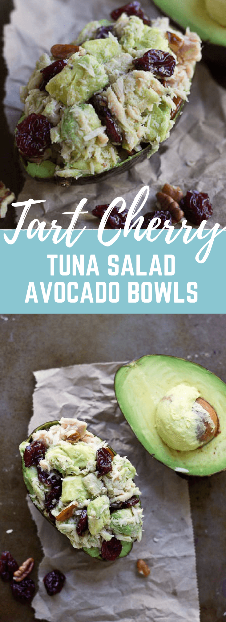 This is one POWER packed tuna salad recipe. These Tart Cherry Tuna Salad Avocado Bowls are filled with healthy fats from tuna, avocado, and pecans, it's also rich in anthocyanins thanks to Montmorency tart cherries! Hello gawwwgeous! @choosecherries