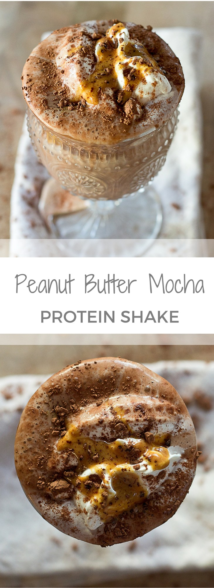 Chocolate + Peanut Butter + Coffee = died and gone to heaven! This is seriously the best combo ever invented all blended up into a healthy low sugar Peanut Butter Mocha Protein Shake! WINNING! Dairy Free. Vegan.