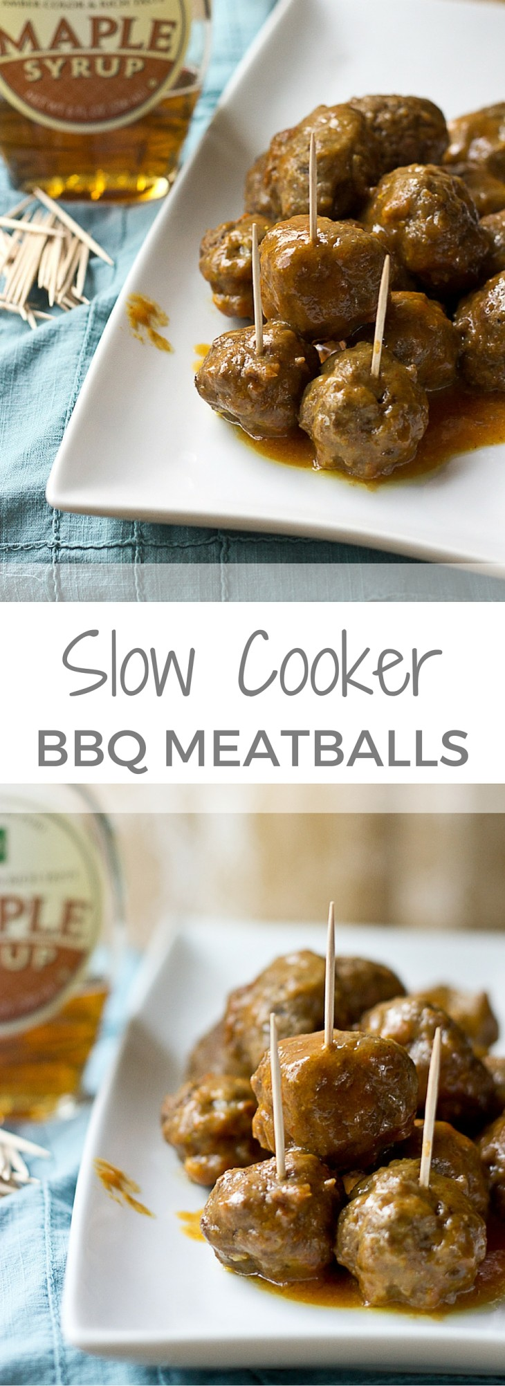 These Slow Cooker Maple Meatballs tho. Love that sweet maple flavor! Serve these up for a crowd at your next football party or meal prep them to eat throughout the week! The slow cooker does all the work.