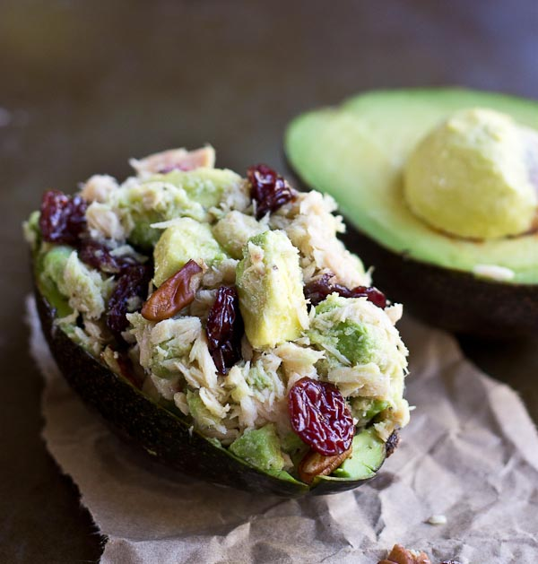 tuna stuffed avocado is a creamy low carb lunch recipe