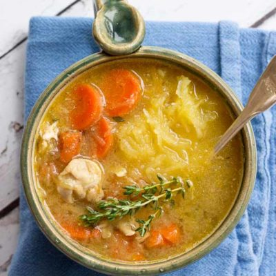"Chicken ""No Noodle"" Soup is filling but won't weigh you down. It's deliciously flavorful and chockfull of chicken and made with spaghetti squash instead of egg noodles. This low carb Chicken No Noodle Soup makes a yummy lunch and works great for meal prep."