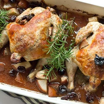 Rosemary Roasted Cornish Hens with Pears and Tart Cherries