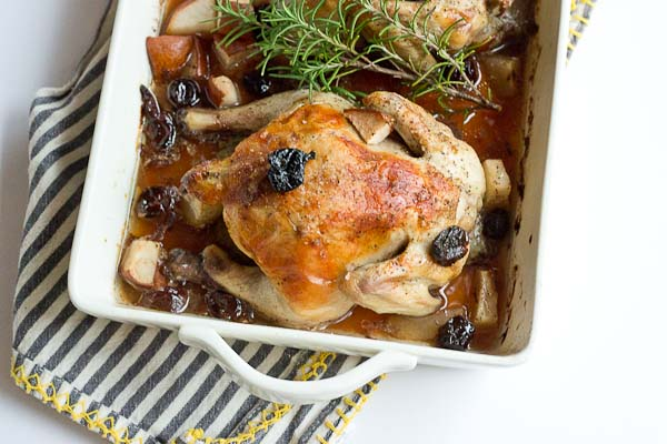 These Rosemary Roasted Cornish Hens with Pears and Tart Cherries are infused with Tart Cherry Juice to give this savory main course a subtle sweet flavor that is sure to satisfy. This Cornish hen duo would make a beautiful entrée for Valentine's Day.