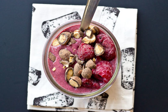 Dark Chocolate Raspberry Smoothie Bowls, a healthy and delicious way to start the day with chocolate for breakfast!