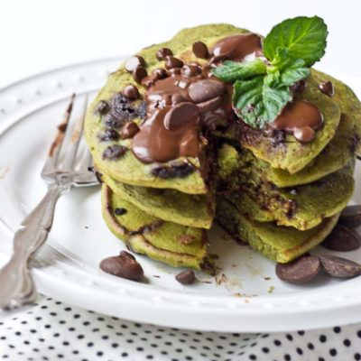 Mint Chocolate Chip Blender Pancakes