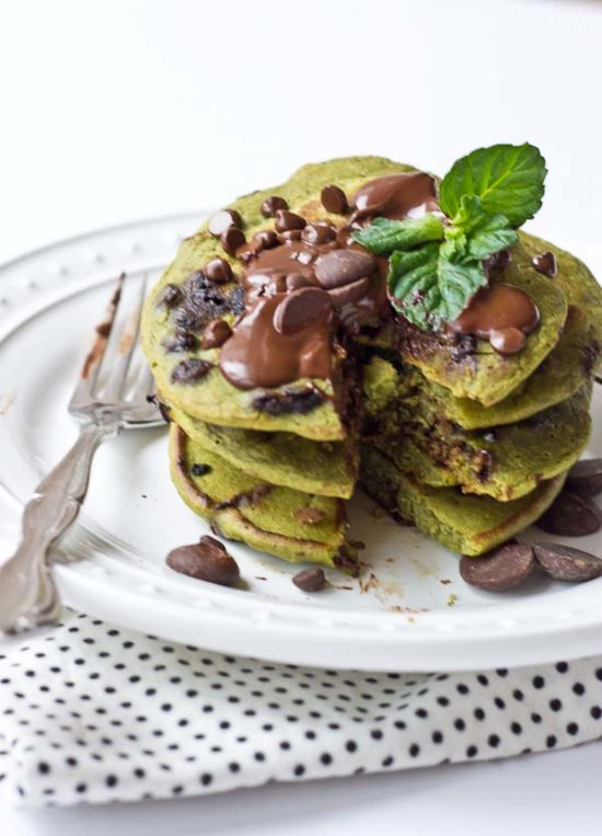 Mint Chocolate Chip Blender Pancakes Love Zest