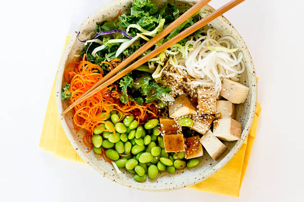 I'm all about this Asian Rice Noodle Bowl. 1. because the favor is da bomb dot com and totally unique for us and 2. it's ready in like 5 minutes flat thanks to some great Trader Joe's finds.