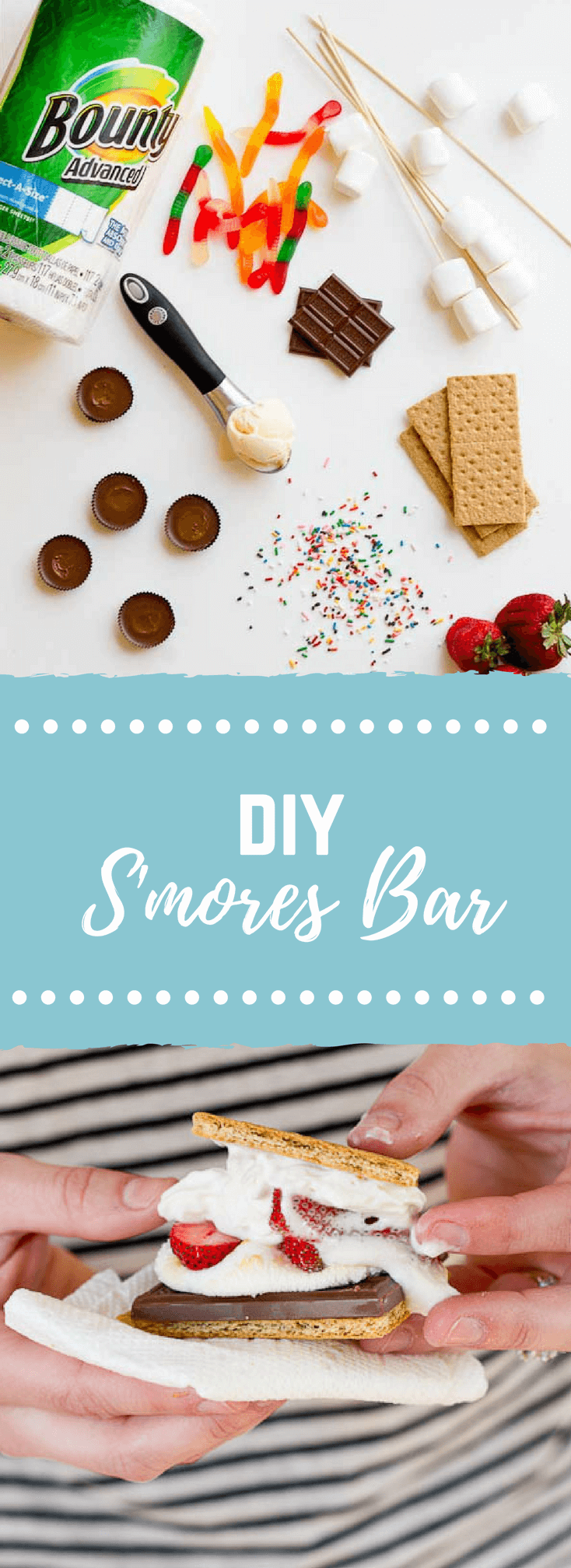 DIY Smores Bar- This DIY S'mores Bar aka Do it Yourself is perfect for your next cookout for lots of family and friend fun.