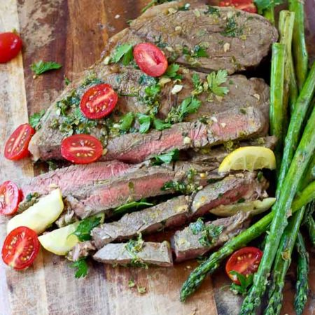 Grilled Top Sirloin Filets with Italian Salsa Verde.... this protein is all about the flavor. The bursts of lemon garlic in this sauce on top of grilled top sirloin is outrageously good and enhances the flavor of the beef.