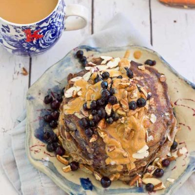 Calling all health junkies, these pancakes are for you! Not your mama's Saturday morning pancakes, these Health Nut Blueberry Pancakes are made with buckwheat flour, kefir and wild blueberries, and are sure to please even the pickiest palate. Gluten free.