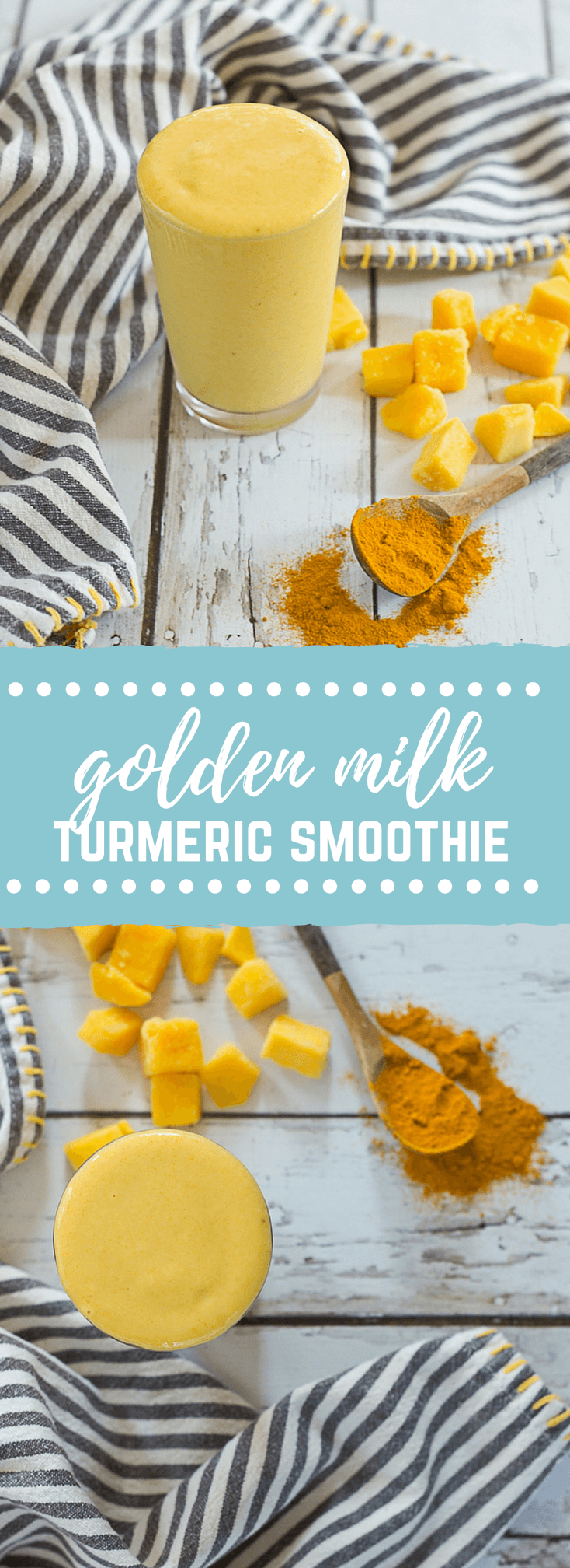 "This ""Golden Milk"" Turmeric Smoothie makes you feel good from the inside out. With only 4 ingredients, it's easy to prepare this delightful smoothie. Turmeric, the superstar in this smoothie, is a bright yellow spice that acts as a powerful anti-inflammatory."