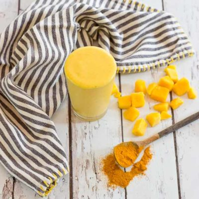 """This """"Golden Milk"""" Turmeric Smoothie makes you feel good from the inside out. With only 4 ingredients, it's easy to prepare this delightful smoothie. Turmeric, the superstar in this smoothie, is a bright yellow spice that acts as a powerful anti-inflammatory."""