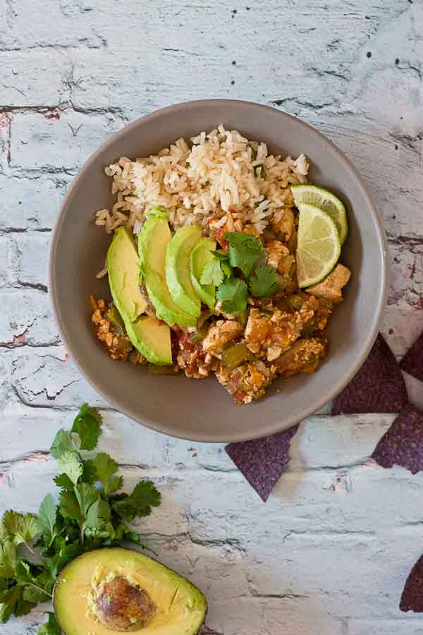Authentic Vegetarian Sofritas Burrito Bowls are just what you need for dinner tonight. Make it a fiesta and serve over cilantro lime brown rice with sweet plantains and blue corn tortilla chips.