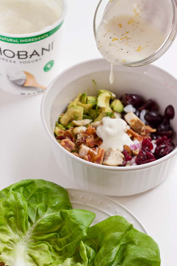 This Bacon Avocado Chicken Salad makes a hearty protein- packed meal to serve up for a lunch or dinner. Greek yogurt is a stand in for traditional mayo, making this salad fit for your active lifestyle.