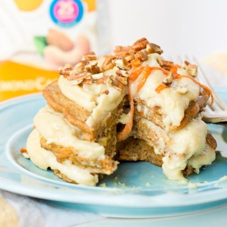 These Carrot Cake Pancakes with Cashew Cream Frosting are ahhhmazing. They are soft and nutty and the cashew cream frosting is so so creamy! Who doesn't love dessert for breakfast??
